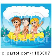 Cartoon Of Happy Talking Children Riding A Banana Boat Royalty Free Vector Clipart