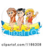 Cartoon Of Happy Children Wearing Life Jackets And Riding A Banana Boat Royalty Free Vector Clipart