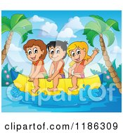 Cartoon Of Happy Children Wearing Life Jackets And Riding A Banana Boat 2 Royalty Free Vector Clipart by visekart