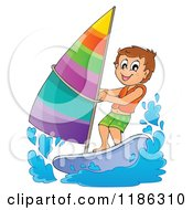 Cartoon Of A Happy Boy Wind Surfing Royalty Free Vector Clipart