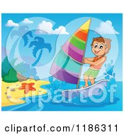 Cartoon Of A Happy Boy Wind Surfing Near A Beach Royalty Free Vector Clipart by visekart