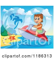 Cartoon Of A Happy Boy Wind Surfing To A Beach Royalty Free Vector Clipart by visekart