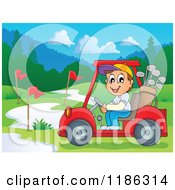 Cartoon Of A Happy Man Driving A Golf Cart On A Course Royalty Free Vector Clipart by visekart