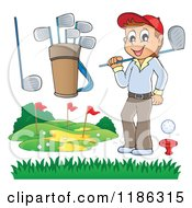 Cartoon Of A Happy Man And Golf Elements Royalty Free Vector Clipart by visekart