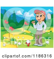 Cartoon Of A Happy Man On A Golf Course Royalty Free Vector Clipart by visekart