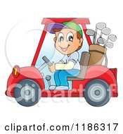 Cartoon Of A Happy Man Driving A Golf Cart Royalty Free Vector Clipart by visekart
