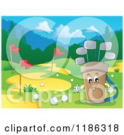 Cartoon Of A Happy Golf Bag Mascot On A Course Royalty Free Vector Clipart by visekart