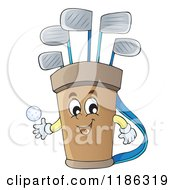 Cartoon Of A Happy Golf Bag Mascot Royalty Free Vector Clipart by visekart