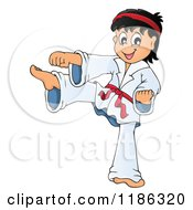 Cartoon Of A Kicking Red Belt Karate Boy Royalty Free Vector Clipart by visekart