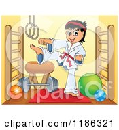 Cartoon Of A Kicking Red Belt Karate Boy In A Gym Royalty Free Vector Clipart