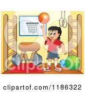 Cartoon Of A Happy Boy Spinning A Basketball In A Gym Royalty Free Vector Clipart by visekart
