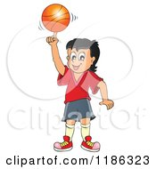 Cartoon Of A Happy Boy Spinning A Basketball Royalty Free Vector Clipart