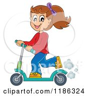Cartoon Of A Happy Girl Riding A Scooter Royalty Free Vector Clipart