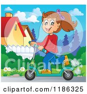 Cartoon Of A Happy Girl Riding A Scooter In A Neighborhood Royalty Free Vector Clipart by visekart