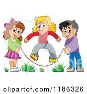 Cartoon Of Happy Children Playing Jump Rope Royalty Free Vector Clipart