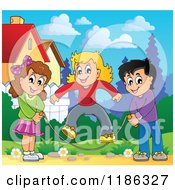 Cartoon Of Happy Children Playing Jump Rope In A Meadow Royalty Free Vector Clipart