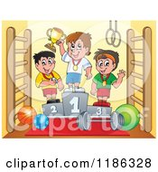 Cartoon Of Boys On Placement Podiums In A Gym Royalty Free Vector Clipart by visekart