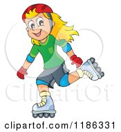 Cartoon Of A Happy Girl Roller Blading Royalty Free Vector Clipart