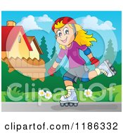 Cartoon Of A Happy Girl Roller Blading In A Neighborhood Royalty Free Vector Clipart by visekart