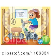 Cartoon Of A Girl Riding A Spin Bike In A Gym Royalty Free Vector Clipart by visekart