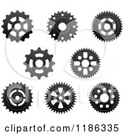 Clipart Of Black And White Gear Cog Wheels 2 Royalty Free Vector Illustration