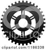 Clipart Of A Black And White Gear Cog Wheel 3 Royalty Free Vector Illustration