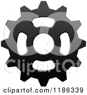 Clipart Of A Black And White Gear Cog Wheel 4 Royalty Free Vector Illustration