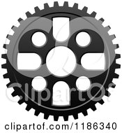 Clipart Of A Black And White Gear Cog Wheel 5 Royalty Free Vector Illustration