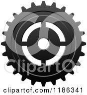 Clipart Of A Black And White Gear Cog Wheel 6 Royalty Free Vector Illustration
