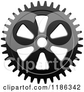 Clipart Of A Black And White Gear Cog Wheel 7 Royalty Free Vector Illustration