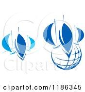 Clipart Of Abstract Blue Regatta Sailboats Royalty Free Vector Illustration