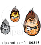 Clipart Of Mad Gorilla Faces Royalty Free Vector Illustration by Vector Tradition SM