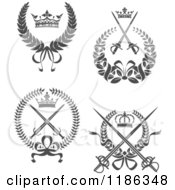 Clipart Of Gray Laurel Wreaths With Crowns And Swords Royalty Free Vector Illustration