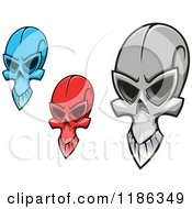 Clipart Of Creepy Red Blue And Grayscale Skulls Royalty Free Vector Illustration