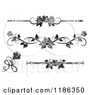 Clipart Of Black And White Ornate Rose Borders And Page Rules Royalty Free Vector Illustration