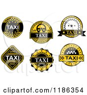Clipart Of A Yellow And Black Taxi Labels 2 Royalty Free Vector Illustration by Vector Tradition SM