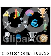 Clipart Of A Icons On Black Royalty Free Vector Illustration