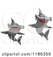 Clipart Of Red Eyed Hammerhead Sharks Royalty Free Vector Illustration