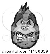 Clipart Of A Mad Grayscale Gorilla Face Royalty Free Vector Illustration by Vector Tradition SM