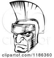 Clipart Of A Black And White Angry Spartan Warrior Face Royalty Free Vector Illustration by Vector Tradition SM