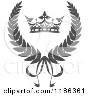 Clipart Of A Gray Laurel Wreath Crown And Bow Royalty Free Vector Illustration