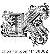 Clipart Of A Vintage Letter N In Black And White Royalty Free Vector Illustration