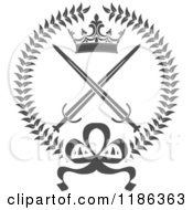 Clipart Of A Gray Laurel Wreath With A Crown And Crossed Swords 2 Royalty Free Vector Illustration