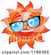 Clipart Of A Happy Red Sun Wearing Glasses Royalty Free Vector Illustration