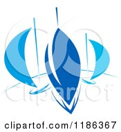 Clipart Of Abstract Blue Sailboats Royalty Free Vector Illustration