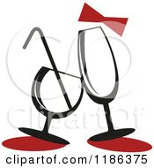 Clipart Of A Red Bow Over Champagne And Cocktail Glasses Royalty Free Vector Illustration