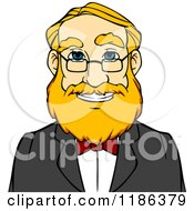 Clipart Of A Happy Blond Man With A Beard And Glasses Avatar Royalty Free Vector Illustration
