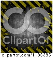 Clipart Of A Frame Of Grungy Hazard Stripes Around 3d Concrete Royalty Free CGI Illustration