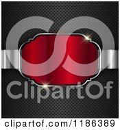 Clipart Of A 3d Red Frame With Sparkling Lights Over Perforated Metal Royalty Free Vector Illustration by KJ Pargeter