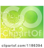 Clipart Of A Gradient Green Background With Floral Vines Royalty Free Vector Illustration by KJ Pargeter